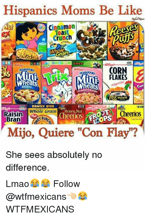 """Cheerios: Hispanics Moms Be Like  Nut  Toast  crunch  rain  CORN  FLAKES  O  Rea  MOVIE  FAMILY SITE  Whole Grain  Cheerios  Raisin  Cheerios  Bran  Mijo, Quiere """"Con Flay""""?  She sees absolutely no  difference. Lmao😂😂 Follow @wtfmexicans👈🏼😂 WTFMEXICANS"""