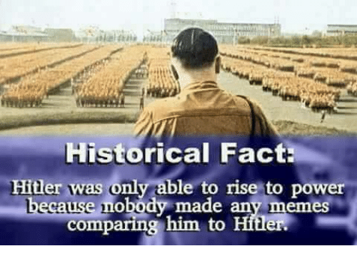 Memes, Hitler, and Power: Historical Fact:  Hitler was only able to rise to power  ause nobody made any memes  comparing him to Hitler.