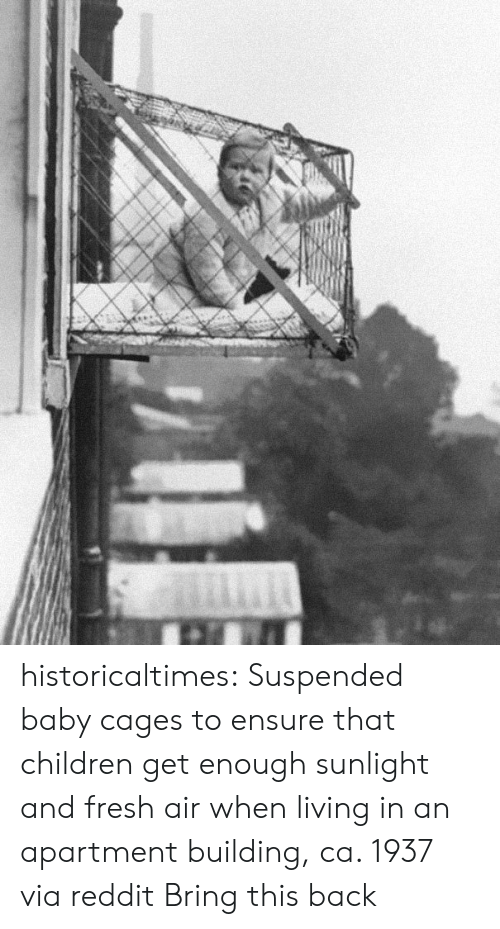 Cages: historicaltimes:  Suspended baby cages to ensure that children get enough sunlight and fresh air when living in an apartment building, ca. 1937 via reddit  Bring this back