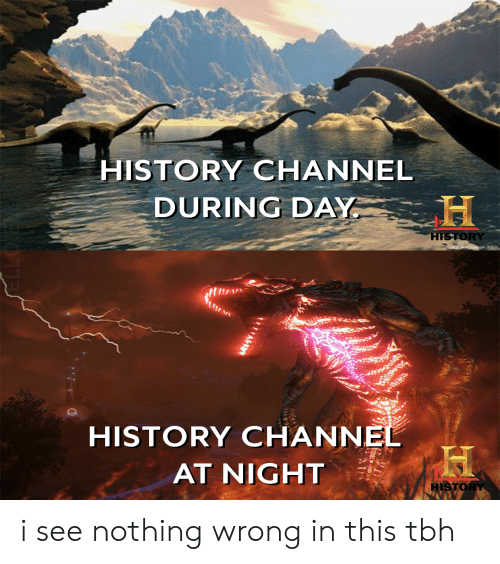 history channel: HISTORY CHANNEL  DURING DAY  HISTORY  20c  HISTORY CHANNEL  AT NIGHT  HISTORY  A i see nothing wrong in this tbh