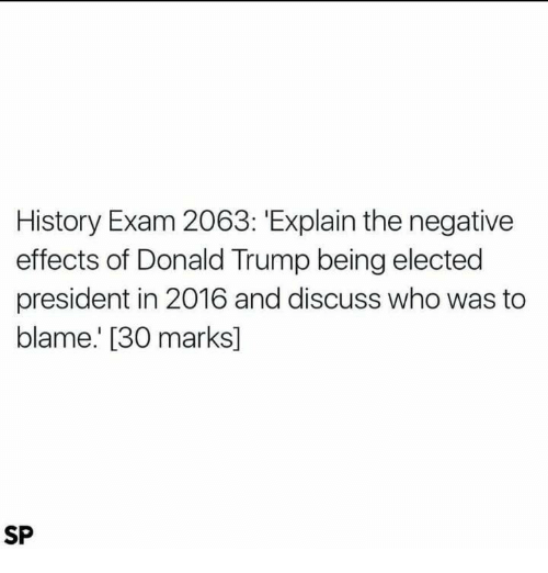 International Baccalaureate: History Exam 2063: Explain the negative  effects of Donald Trump being elected  president in 2016 and discuss who was to  blame. [30 marks]  SP