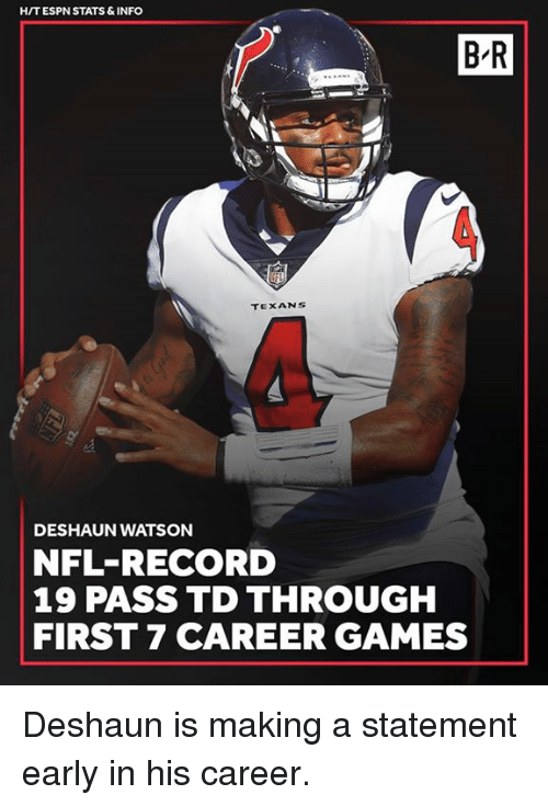 Espn, Nfl, and Games: HIT ESPN STATS & INFO  B-R  5  TEXANS  DESHAUN WATSON  NFL-RECORD  19 PASS TD THROUGH  FIRST 7 CAREER GAMES Deshaun is making a statement early in his career.
