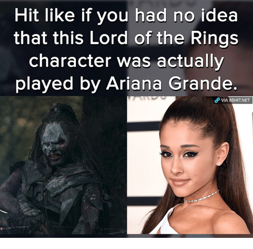 lord of the ring: Hit like if you had no idea  that this Lord of the Rings  character was actually  played by Ariana Grande  dP VIA 8sHIT NET