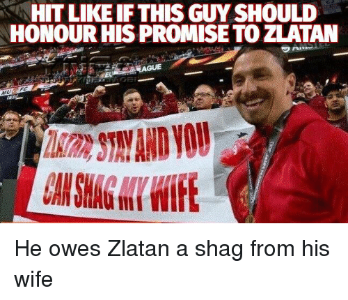 Memes, Wife, and 🤖: HIT LIKEIF THIS GUY SHOULD  HONOUR HIS PROMISE TO ZLATAN He owes Zlatan a shag from his wife