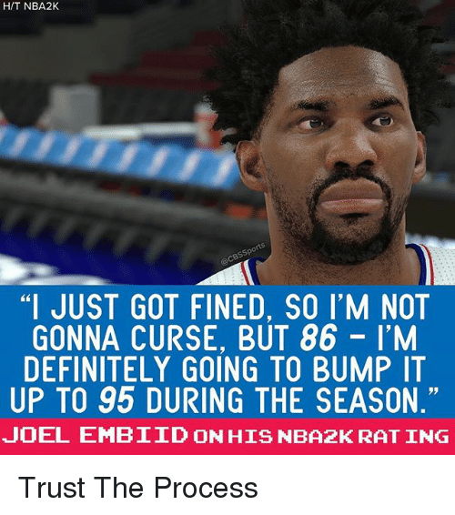 """Embiid: HIT NBA2K  """"I JUST GOT FINED, SO I'M NOT  GONNA CURSE, BUT 86 I'M  DEFINITELY GOING TO BUMP IT  UP TO 95 DURING THE SEASON.""""  JOEL EMBIID ONHIS NBA2K RAT ING Trust The Process"""