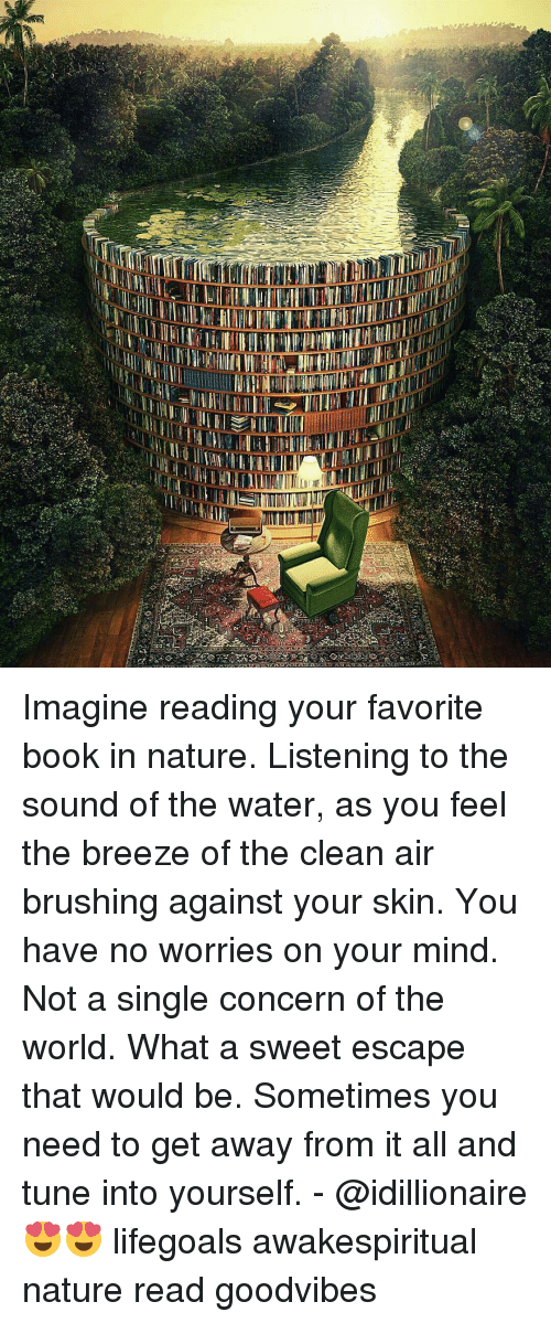 Memes, 🤖, and The Sounds: HIT  WIT Imagine reading your favorite book in nature. Listening to the sound of the water, as you feel the breeze of the clean air brushing against your skin. You have no worries on your mind. Not a single concern of the world. What a sweet escape that would be. Sometimes you need to get away from it all and tune into yourself. - @idillionaire 😍😍 lifegoals awakespiritual nature read goodvibes