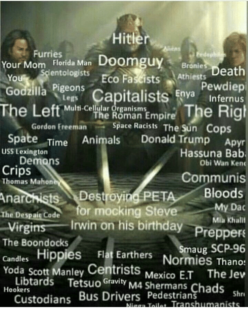 freeman: Hitle  ens  Furries  Your Mom Florida Man Doomgu  Godzilla Pigeons  The Left Mlt Cl  y Bronie  entologists  eath  Eco Fascists Athiests D  0  Pewdiep  Capitalists Eo Internus  Legs  Multi-Cellular Organisms  iam Empire The Righ  Space Racists The Su  The Roman  Freeman  n Cops  Spate Time Animals Donald Trump Ap  pyr  Obi Wan Kenc  Communis  USS Lexington  Hassuna Bab  Demons  Crips  Thomas Mahon  Destroyia(PETA/Bloods  The Despais Code for mocking Steve  Virgins Irwin on his birthday  My Dac  Mila Khali  Preppers  es Flat Earthers Normies Thanos  The Boondocks  Smaug SCP-96  Yoda scott Manley Centrists  Mexico E.T  The Jew  Libtards Tetsuo Gvity M4 Shermans Chads s  Shr  Nigga Toile Transhumanists  Hookers  Custodians Bus Drivers Pedestrians