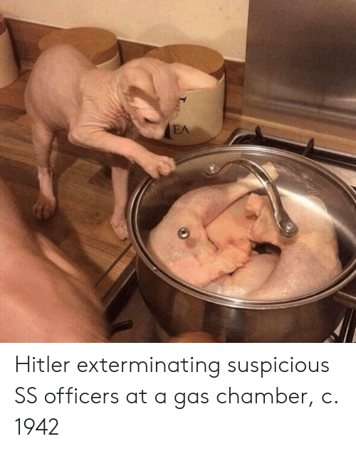 Gas Chamber: Hitler exterminating suspicious SS officers at a gas chamber, c. 1942