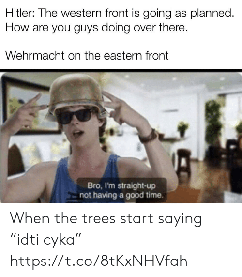 """Western: Hitler: Ihe western front is going as planned.  How are you guys doing over there  Wehrmacht on the eastern front  Bro, I'm straight-up  not having a good time. When the trees start saying """"idti cyka"""" https://t.co/8tKxNHVfah"""