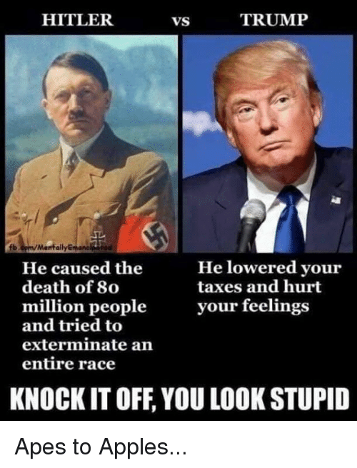 lowered: HITLER  VS  TRUMP  b.cpm/Manfally  manc  He lowered your  taxes and hurt  He caused the  death of 80  million peopleyour feelings  and tried to  exterminate an  entire race  KNOCK IT OFF, YOU LOOK STUPID Apes to Apples...