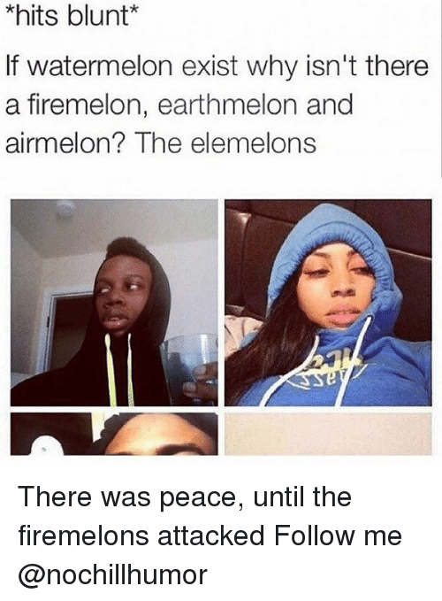 Elemelons: *hits blunt  f watermelon exist why isn't there  a firemelon, earthmelon and  airmelon  The elemelons There was peace, until the firemelons attacked Follow me @nochillhumor