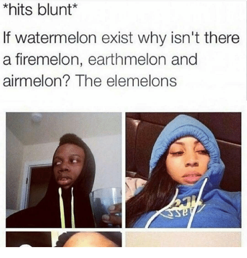 Elemelons: *hits blunt  If watermelon exist why isn't there  a firemelon, earthmelon and  airmelon? The elemelons