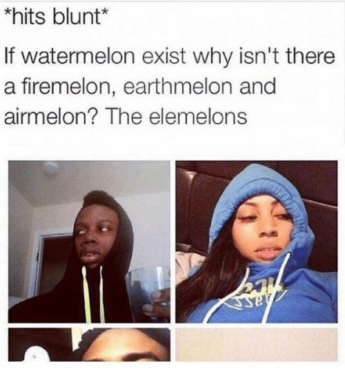 Elemelons: *hits blunt  If watermelon exist why isn't there  a firemelon, earthmelon and  airmel on? The elemelons