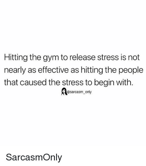 Funny, Gym, and Memes: Hitting the gym to release stress is not  nearly as effective as hitting the people  that caused the stress to begin with.  A@sarcasm only SarcasmOnly