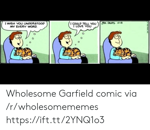 Garfield: HM DAVS 10-15  I WISH VOU UNDERSTOOD  MY EVERY WORD  I COULD TELL You  I LOVE YOU  PASIC Wholesome Garfield comic via /r/wholesomememes https://ift.tt/2YNQ1o3