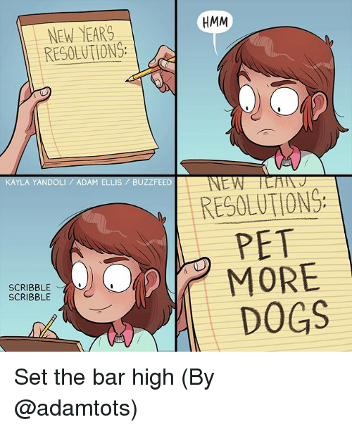 Dogs, Memes, and New Year's Resolutions: HMM  NEW YEARS  RESOLUTIONS  KAYLA YANDOLI ADAM ELLIS / BUZZFEED  RESOLUTIONG  PET  SCRIBBLE  SCRIBBLE  DOGS Set the bar high (By @adamtots)