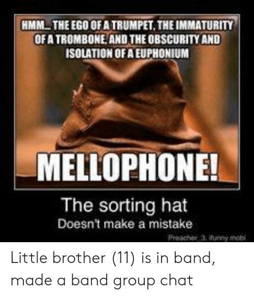 euphonium: HMM THE EGO OF A TRUMPET. THE IMMATURITY  OF A TROMBONE AND THE OBSCURITY AND  ISOLATION OF A EUPHONIUM  MELLOPHONE!  The sorting hat  Doesn't make a mistake  Preacher 3, ifunny mobi Little brother (11) is in band, made a band group chat