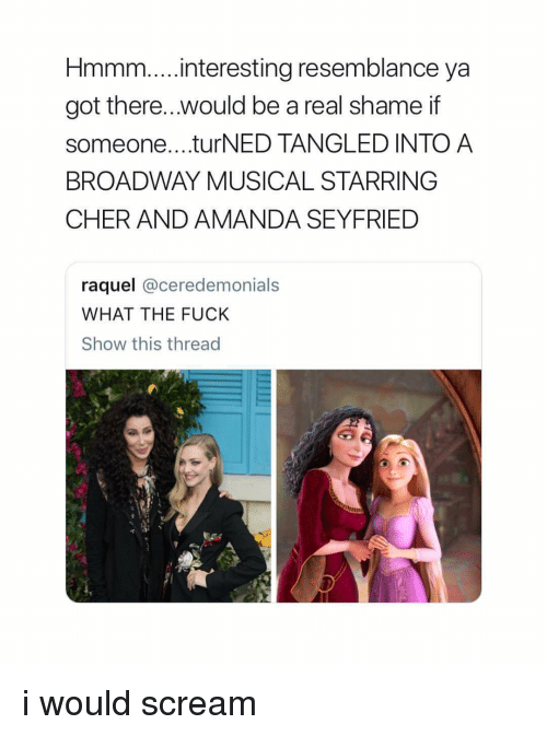 broadway musical: Hmmm...interesting resemblance ya  got there.. .would be a real shame if  someone....turNED TANGLED INTO A  BROADWAY MUSICAL STARRING  CHER AND AMANDA SEYFRIED  raquel @ceredemonials  WHAT THE FUCK  Show this thread i would scream