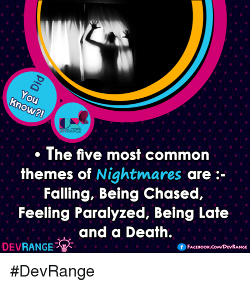 Memes, Chase, and Common: ho  RANGE  The five most common  themes of  Nightmares  are  Falling, Being Chased,  Feeling Paralyzed, Being Late  and a Death.  DEV  RANGE  FACE Book.coMDEVRANGE #DevRange