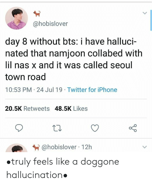 Namjoon: @hobislover  day 8 without bts: i have halluci-  nated that namjoon collabed with  lil nas x and it was called seoul  town road  10:53 PM 24 Jul 19 Twitter for iPhone  20.5K Retweets 48.5K Likes  @hobislover 12h •truly feels like a doggone hallucination•
