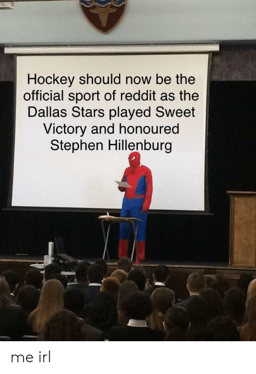 Dallas Stars: Hockey should now be the  official sport of reddit as the  Dallas Stars played Sweet  Victory and honoured  Stephen Hillenburg me irl