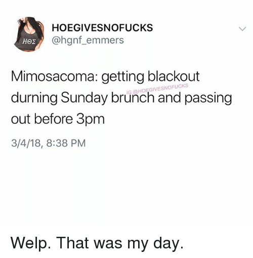 Sunday, Girl Memes, and Brunch: HOEGIVESNOFUCKS  @hgnf_emmers  Mimosacoma: getting blackout  durning Sunday brunch and passing  out before 3pm  3/4/18, 8:38 PM  G @HOEGIVESNOFUCKS Welp. That was my day.