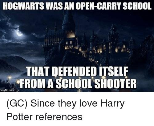 Harry Potter, Love, and Memes: HOGWARTS WAS AN OPEN-CARRY SCHOOL  THAT DEFENDED ITSELF  FROM A SCHOOL SHOOTER  imgfip.com (GC) Since they love Harry Potter references