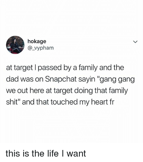 """Dad, Family, and Life: hokage  @_vyphanm  at target l passed by a family and the  dad was on Snapchat sayin """"gang gang  we out here at target doing that family  shit"""" and that touched my heart fr this is the life I want"""
