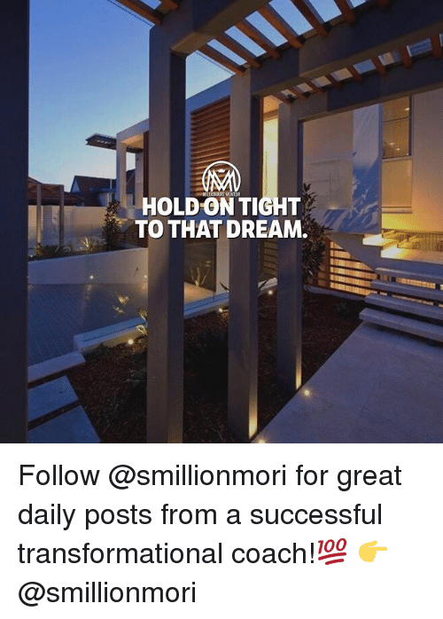 hold on tight: HOLD ON TIGHT  TO THAT DREAM. Follow @smillionmori for great daily posts from a successful transformational coach!💯 👉 @smillionmori