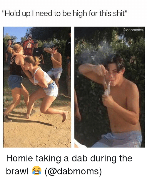 "Homie, Shit, and Weed: ""Hold up I need to be high for this shit""  @dabmoms Homie taking a dab during the brawl 😂 (@dabmoms)"