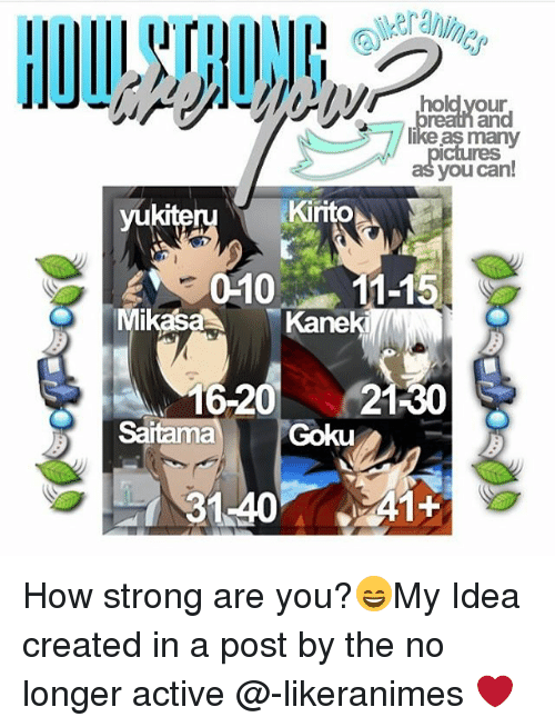mikasa: hold your  many  you can!  Kirito  yukiteru  WE 010 11-15  Mikasa  Kaneki  16-20  21-30  Goku  A1+  31.40 How strong are you?😄My Idea created in a post by the no longer active @-likeranimes ❤