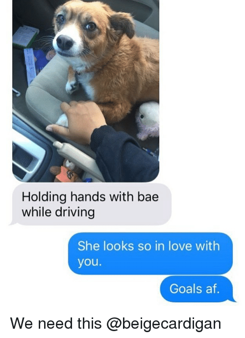 Af, Bae, and Driving: Holding hands with bae  while driving  She looks so in love with  you.  Goals af We need this @beigecardigan