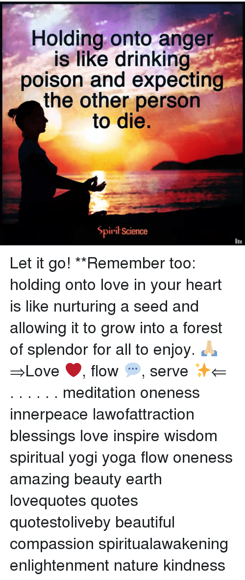 ange: Holding onto ange  is like drinking  poison and expecting  the other person  to die.  SpiriScience Let it go! **Remember too: holding onto love in your heart is like nurturing a seed and allowing it to grow into a forest of splendor for all to enjoy. 🙏🏼 ⇒Love ❤️, flow 💬, serve ✨⇐ . . . . . . meditation oneness innerpeace lawofattraction blessings love inspire wisdom spiritual yogi yoga flow oneness amazing beauty earth lovequotes quotes quotestoliveby beautiful compassion spiritualawakening enlightenment nature kindness