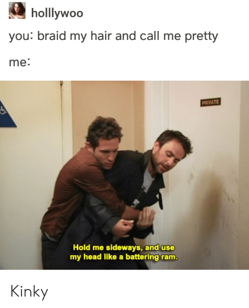 braid: holllywoo  you: braid my hair and call me pretty  me:  PRIVATE  Hold me sideways, and use  my head like a battering ram Kinky
