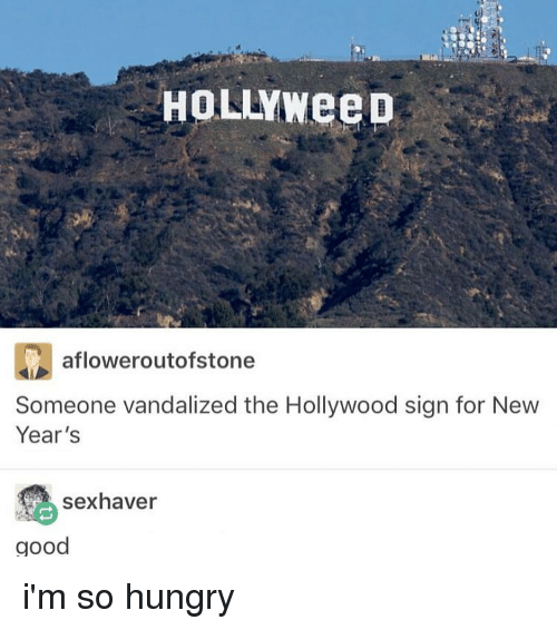 Vandalizers: HOLLYWeeD  afloweroutofstone  Someone vandalized the Hollywood sign for New  Year's  sex haver  good i'm so hungry