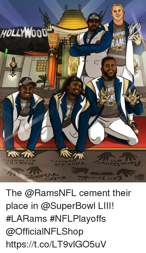 cement: HOLLYWOOD  NFC  HAMPION  LOS ANGELES The @RamsNFL cement their place in @SuperBowl LIII! #LARams #NFLPlayoffs  @OfficialNFLShop https://t.co/LT9vlGO5uV