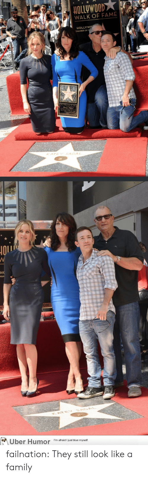 im afraid: HOLLyWOOD  WALK OF FAME  HOLLYWO  KATEY SAGAL  но  OM  KATE  Uber Humor  I'm afraid I just blue myself. failnation:  They still look like a family