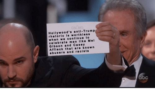 Mel Gibson: Hollywood's anti-Trump  rhetoric is worthless  when we continue to  celebrate men like Mel  Gibson and Cas e y  Affleck that are known  abusers and racists