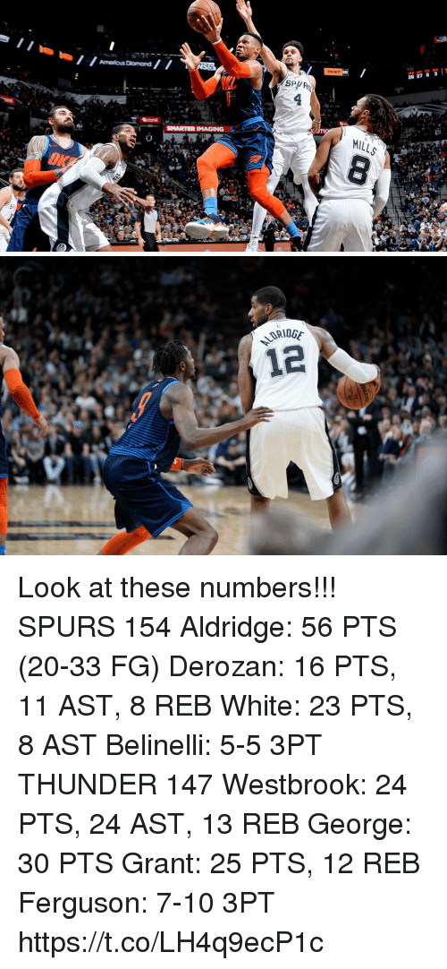 westbrook: HOLT  26 27 6 3T  SPA  SMARTER IMAGING  OKF Look at these numbers!!!  SPURS 154 Aldridge: 56 PTS (20-33 FG) Derozan: 16 PTS, 11 AST, 8 REB White: 23 PTS, 8 AST Belinelli: 5-5 3PT  THUNDER 147 Westbrook: 24 PTS, 24 AST, 13 REB George: 30 PTS Grant: 25 PTS, 12 REB Ferguson: 7-10 3PT https://t.co/LH4q9ecP1c