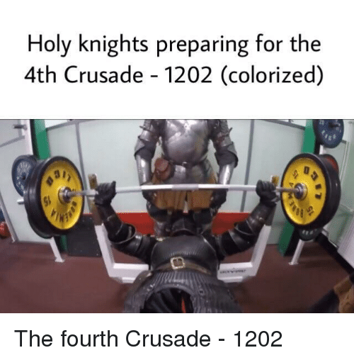 knights: Holy knights preparing for the  4th Crusade - 1202 (colorized) The fourth Crusade - 1202