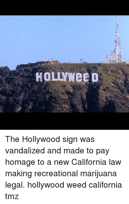 Vandalizers: HOLYWee D The Hollywood sign was vandalized and made to pay homage to a new California law making recreational marijuana legal. hollywood weed california tmz