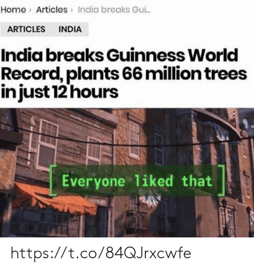 guinness: Home Articles India breaks Gui..  ARTICLES INDIA  India breaks Guinness World  Record, plants 66 million trees  injust 12 hours  Everyone liked that  2400 https://t.co/84QJrxcwfe