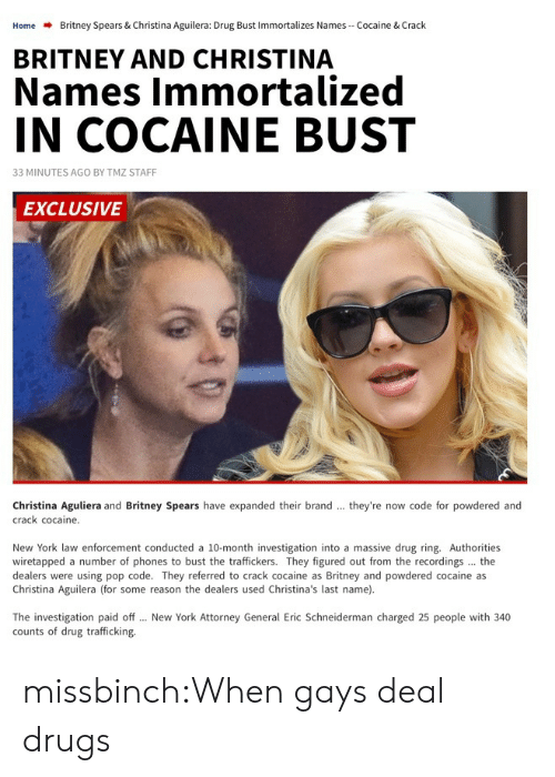 Christina Aguilera: Home  Britney Spears & Christina Aguilera: Drug Bust Immortalizes Names-Cocaine & Crack  BRITNEY AND CHRISTINA  Names Immortalized  IN COCAINE BUST  33 MINUTES AGO BY TMZ STAFF  EXCLUSIVE  Christina Aguliera and Britney Spears have expanded their brand  crack cocaine.  they're now code for powdered and  New York law enforcement conducted a 10-month investigation into a massive drug ring. Authorities  wiretapped a number of phones to bust the traffickers. They figured out from the recordings the  dealers were using pop code. They referred to crack cocaine as Britney and powdered cocaine as  Christina Aguilera (for some reason the dealers used Christina's last name).  The investigation paid off  counts of drug trafficking.  New York Attorney General Eric Schneiderman charged 25 people with 340 missbinch:When gays deal drugs