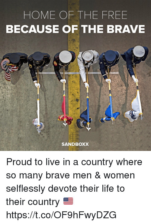 devote: HOME OF THE FREE  BECAUSE OF THE BRAVE  SANDBOXX Proud to live in a country where so many brave men & women selflessly devote their life to their country 🇺🇸 https://t.co/OF9hFwyDZG