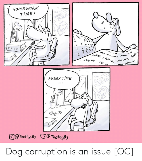 Corruption: HOME WORK  TIME !  THE  MATH  EVERY TIME  THE  @Toothy.Bj  (3:@Tooth48 Dog corruption is an issue [OC]