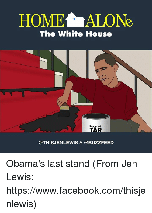 Lewy: HOMELALONe  The White House  ROOFING  TAR  @THIS JENLEWIS @BUZZFEED Obama's last stand (From Jen Lewis: https://www.facebook.com/thisjenlewis)