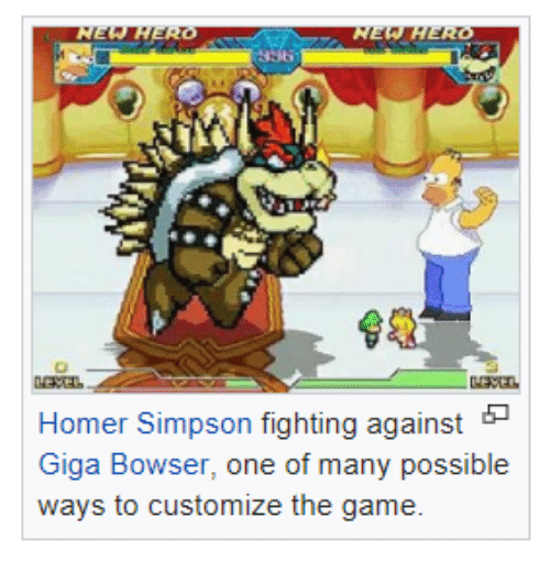 Bowser, Homer Simpson, and The Game: Homer Simpson fighting against  Giga Bowser, one of many possible  ways to customize the game.