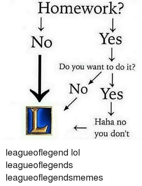 Lol, Memes, and Homework: Homework?  Yes  No  Do you want to do it?  No Yes  Haha no  you don't leagueoflegend lol leagueoflegends leagueoflegendsmemes