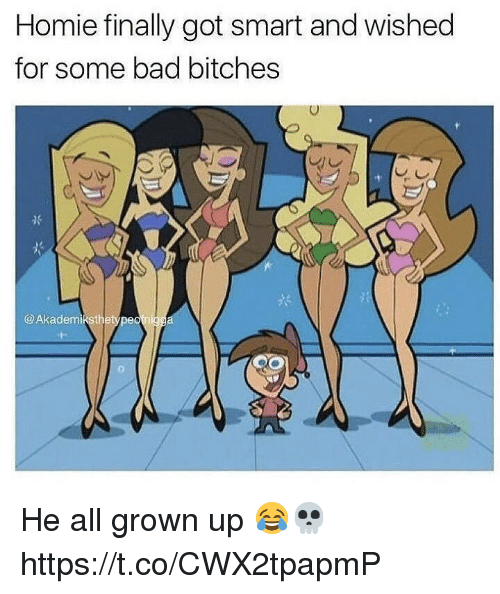 Bad, Homie, and Memes: Homie finally got smart and wished  for some bad bitches  @Akademikstbetype He all grown up 😂💀 https://t.co/CWX2tpapmP