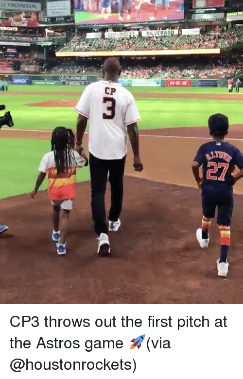 Astros: HONDA  CHEVROL  SILVERAD  CP  27 CP3 throws out the first pitch at the Astros game 🚀(via @houstonrockets)